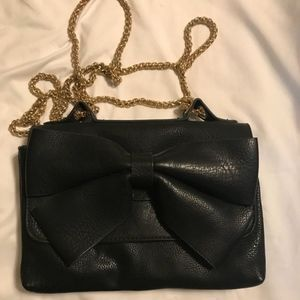 Handbags - Black Bow Bag cross body/shoulder adjustable